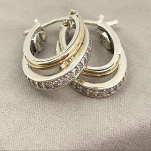 Sterling silver-gold hoops